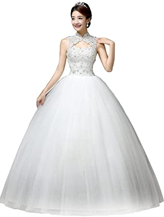 Clover Bridal Vintage High Collar Pearl Wedding Dress For Bride ...
