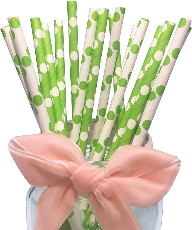 Verde pajitas con lunares blancos Mix Colors Blanco con lunares verdes Pajitas de paper-100 Pack
