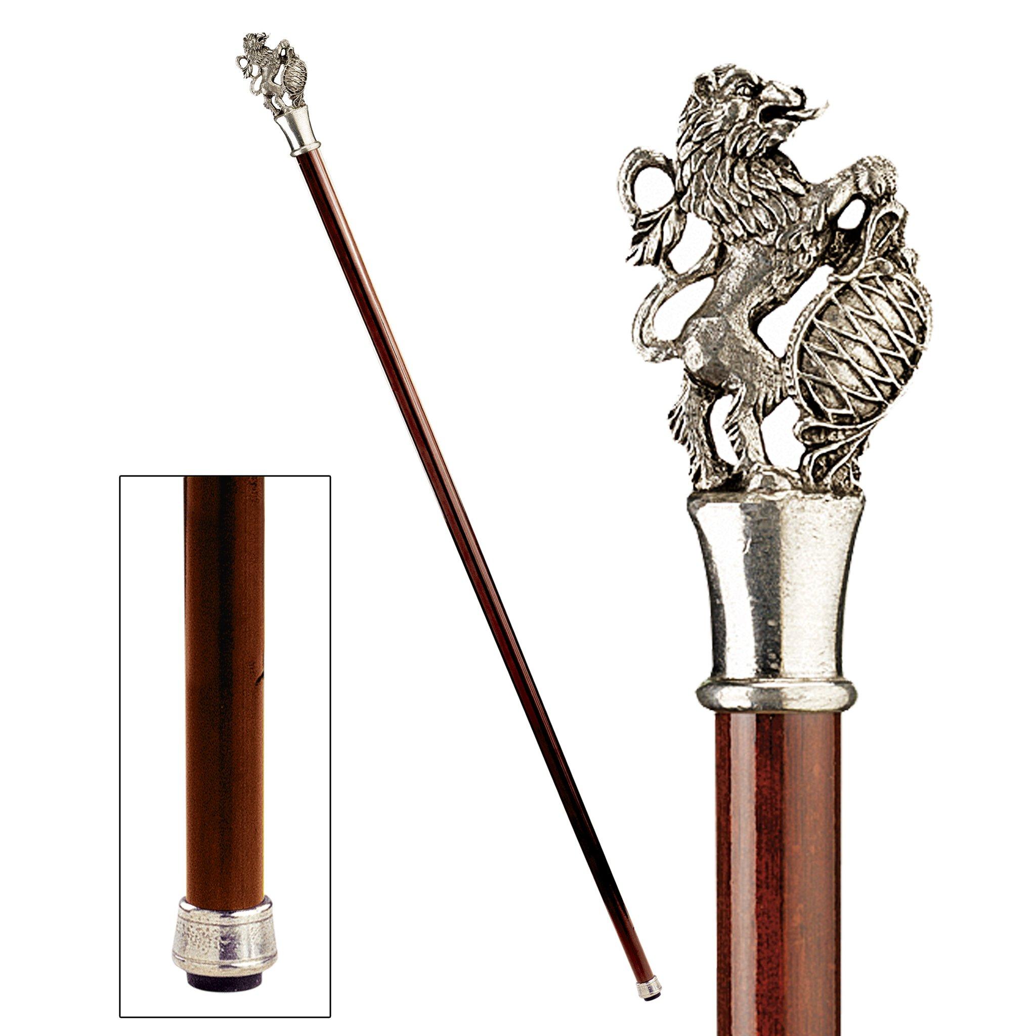 Design Toscano Heraldic Lion Walking Stick, 35 Inch, Pewter Handle and Hardwood Cane, Silver