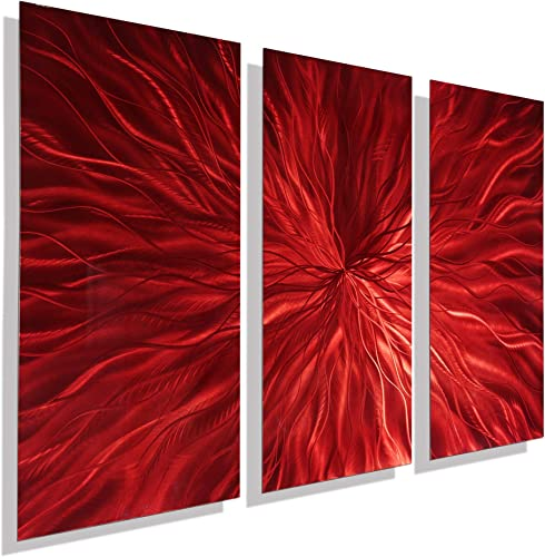 Statements2000 Abstract Fantasy Large Metal Wall Art Panels Hanging Sculpture 3D Painting by Jon Allen, Red, 38 x 24 – Intensity 3P