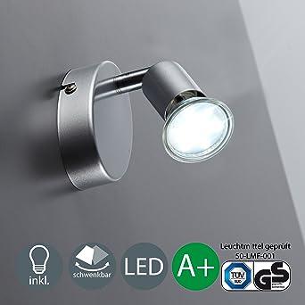 BKLicht LED Wandleuchte Schwenkbar Inkl 1 X 3W Leuchtmittel 230V GU10 IP20 Deckenlampe