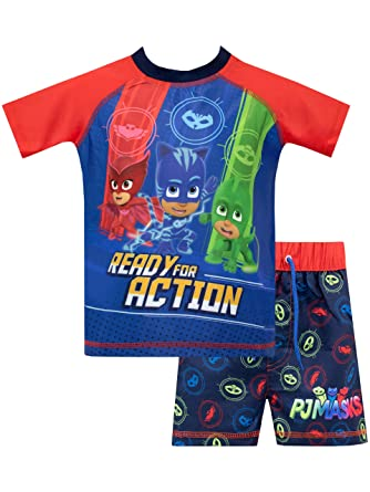 c39cb4e3 Amazon.com: PJ Masks Boys' Catboy Owlette Gecko Two Piece Swim Set ...