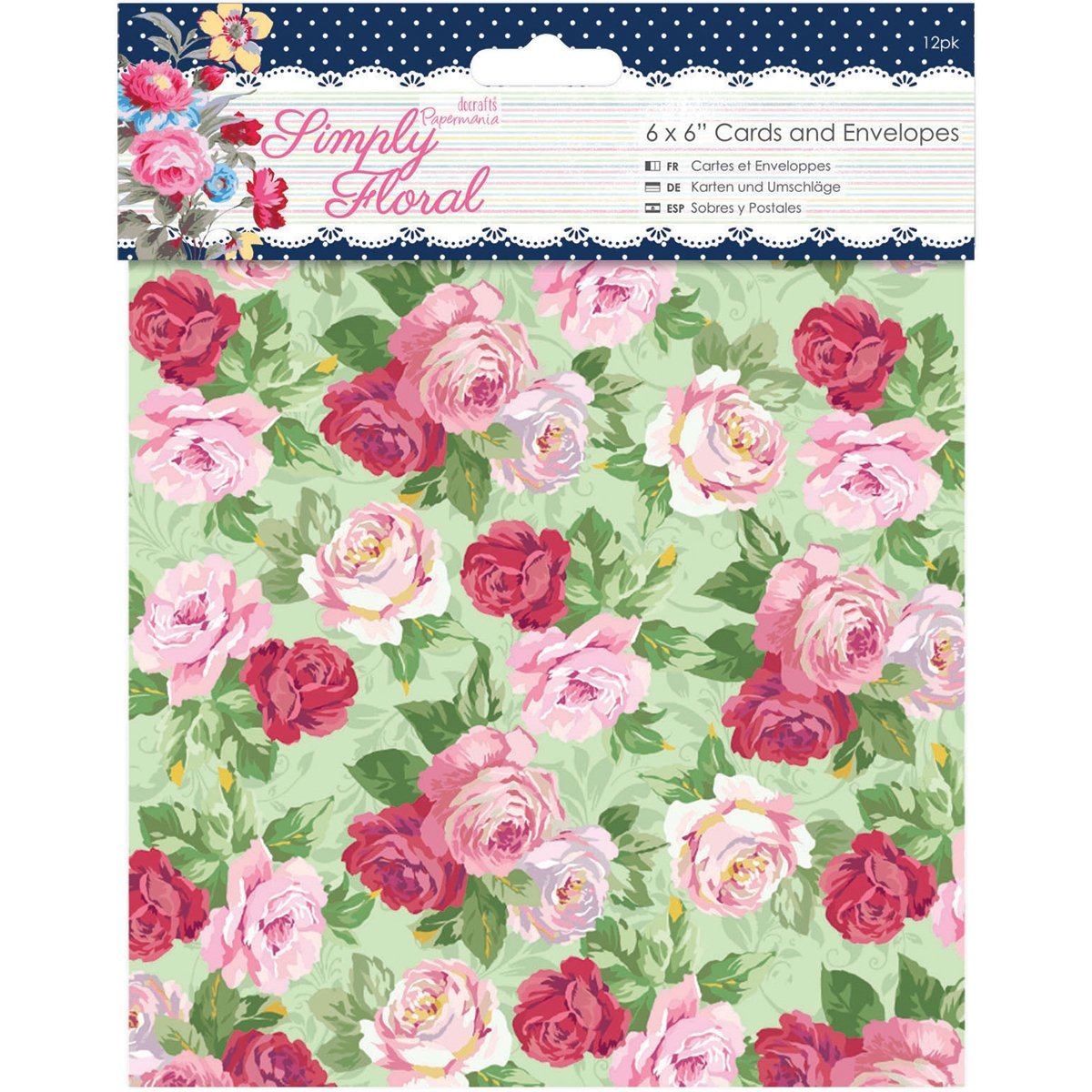 docrafts Papermania Simply Floral Cards with Envelopes, 6 by 6 by DOCrafts   B00RVYHTDO