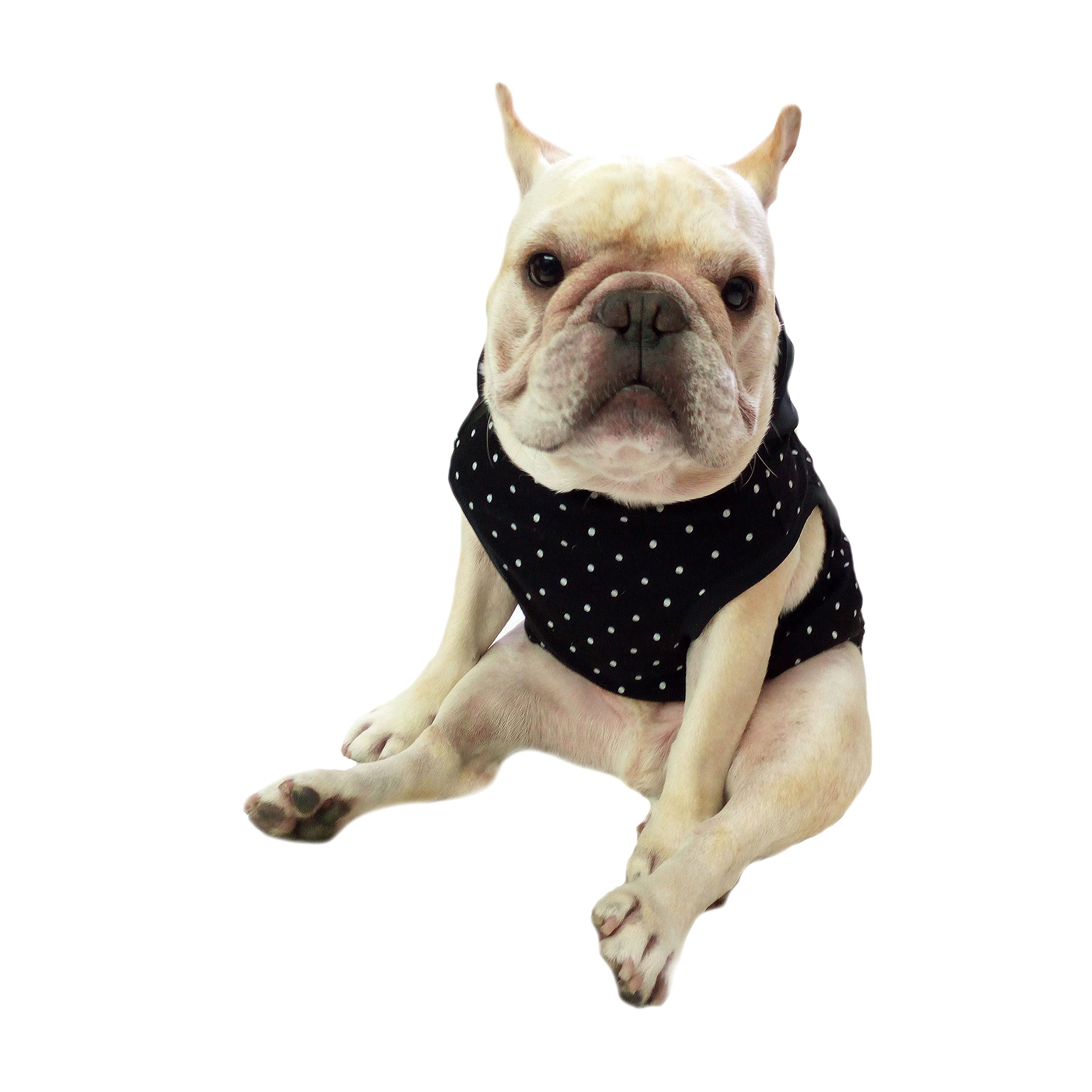 MSFREN Frenchie Pet Apparel Black dot with Black Hoodie and yellow Pompon for French Bulldog or Pug Wear