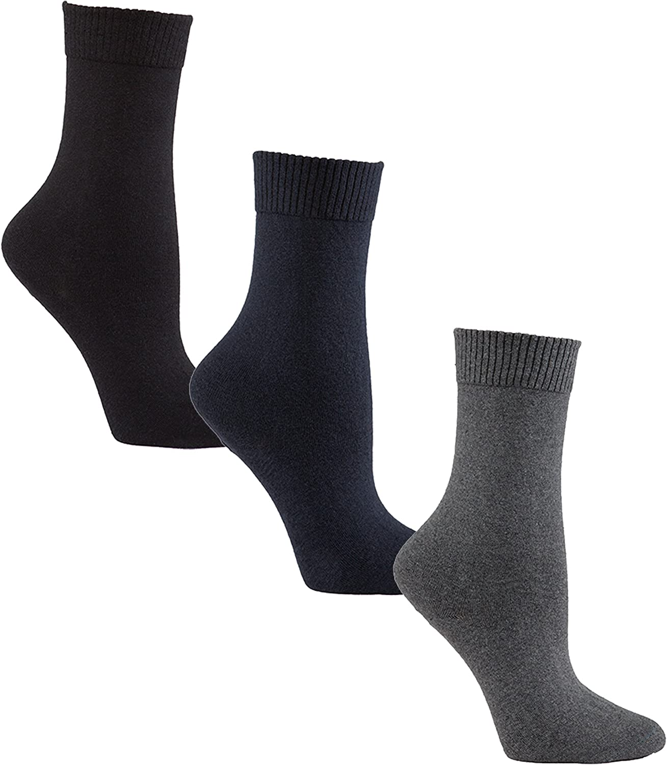 Diabetic Socks for Women by Sugar Free Sox - Maximize Circulation & Comfort - Womens Sock Size 9-11 - Black/Navy/Grey Crew Assorted 3 Pack