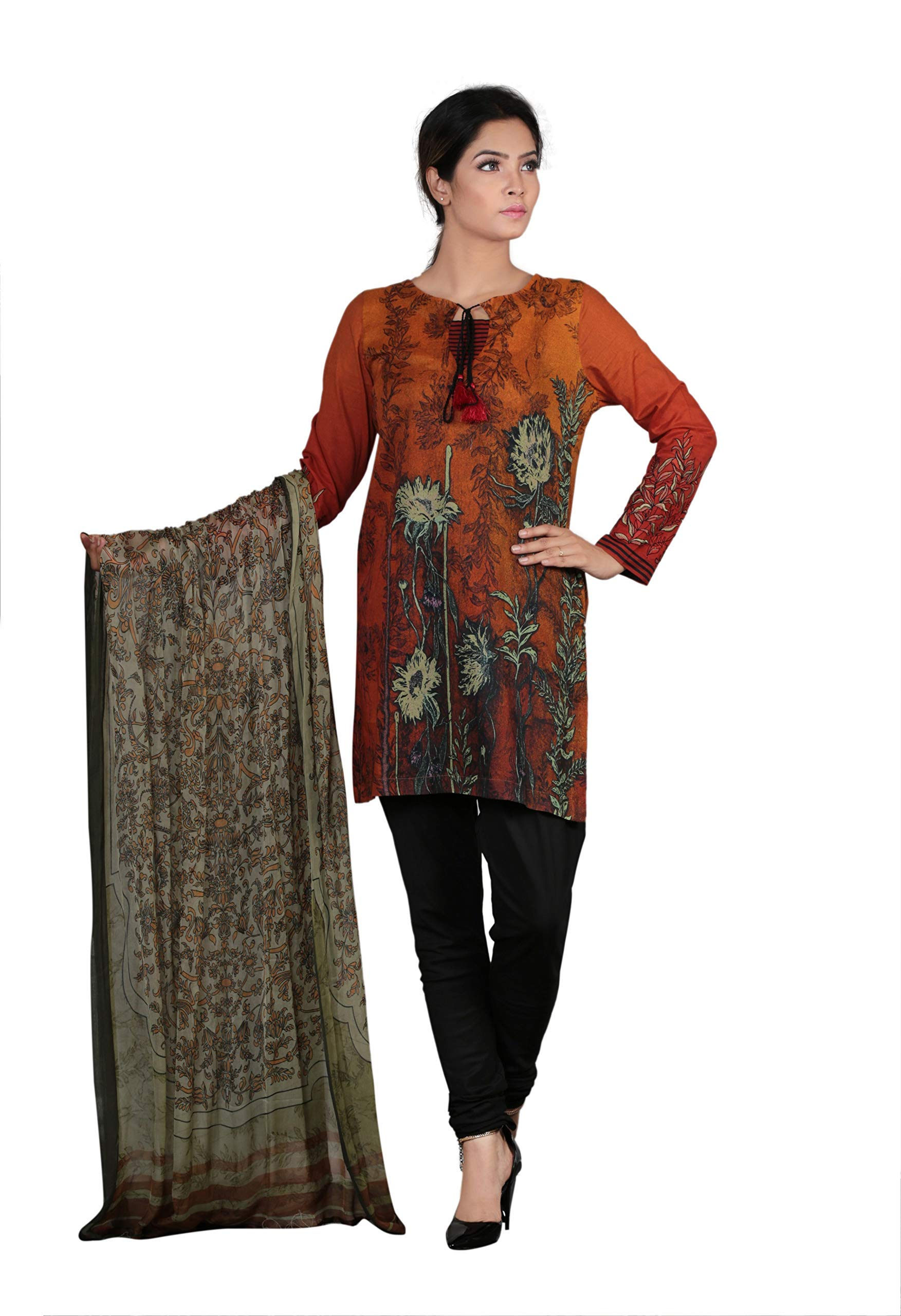 YELLOW 3pcs Sunset Oriental Flower Printed Kurti with Chiffon Dupatta and Solid Color Trouser Ready to wear
