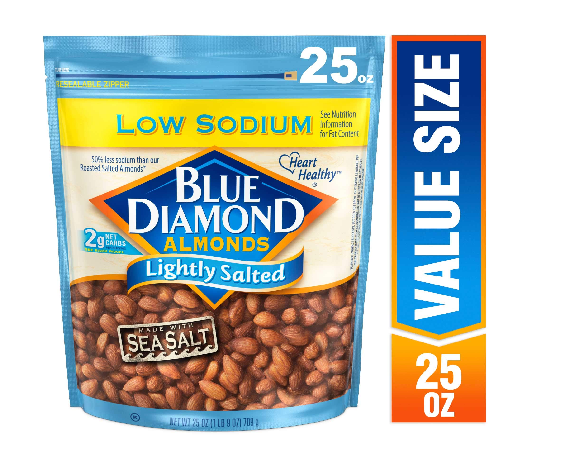 Blue Diamond Almonds, Low Sodium Lightly Salted, 25 Ounce by Blue Diamond Almonds