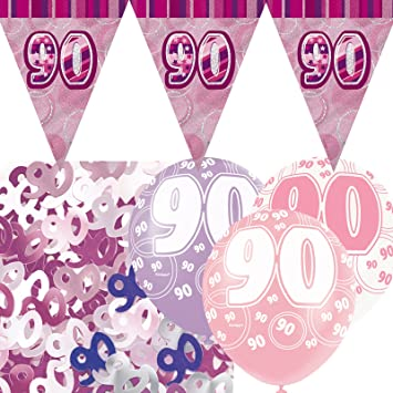 Happy 90th Birthday Holographic Triangular Party Foil Banner Bunting 90 Blue