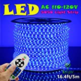 IEKOV™ AC 110-120V Flexible LED Strip Lights, 60 LEDs/M, Dimmable, Waterproof 5050 SMD LED Rope Light + Remote Controller for Party Home Decoration (16.4ft/5m, Blue)