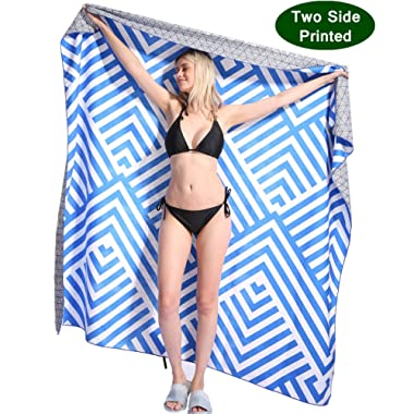 Oversized Microfiber Beach Towel Blanket - Quick Fast Dry Sand Free Extra large Big Outdoor Travel Rack Swim Micro Fiber Pool Picnic Thin Yoga Mat Accessories For 2 Women Men Adults Body Blue Stripe