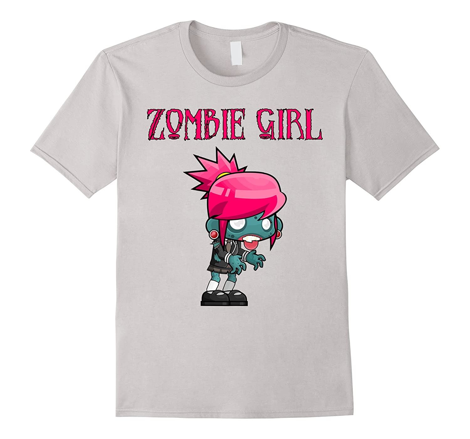 Zombie Girl Horror Scary Cute Halloween Cartoon Fun T-Shirt-FL