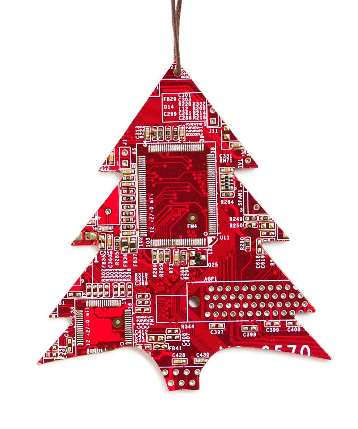 Amazon.com: Red Christmas Tree Ornament, recycled circuit board ...