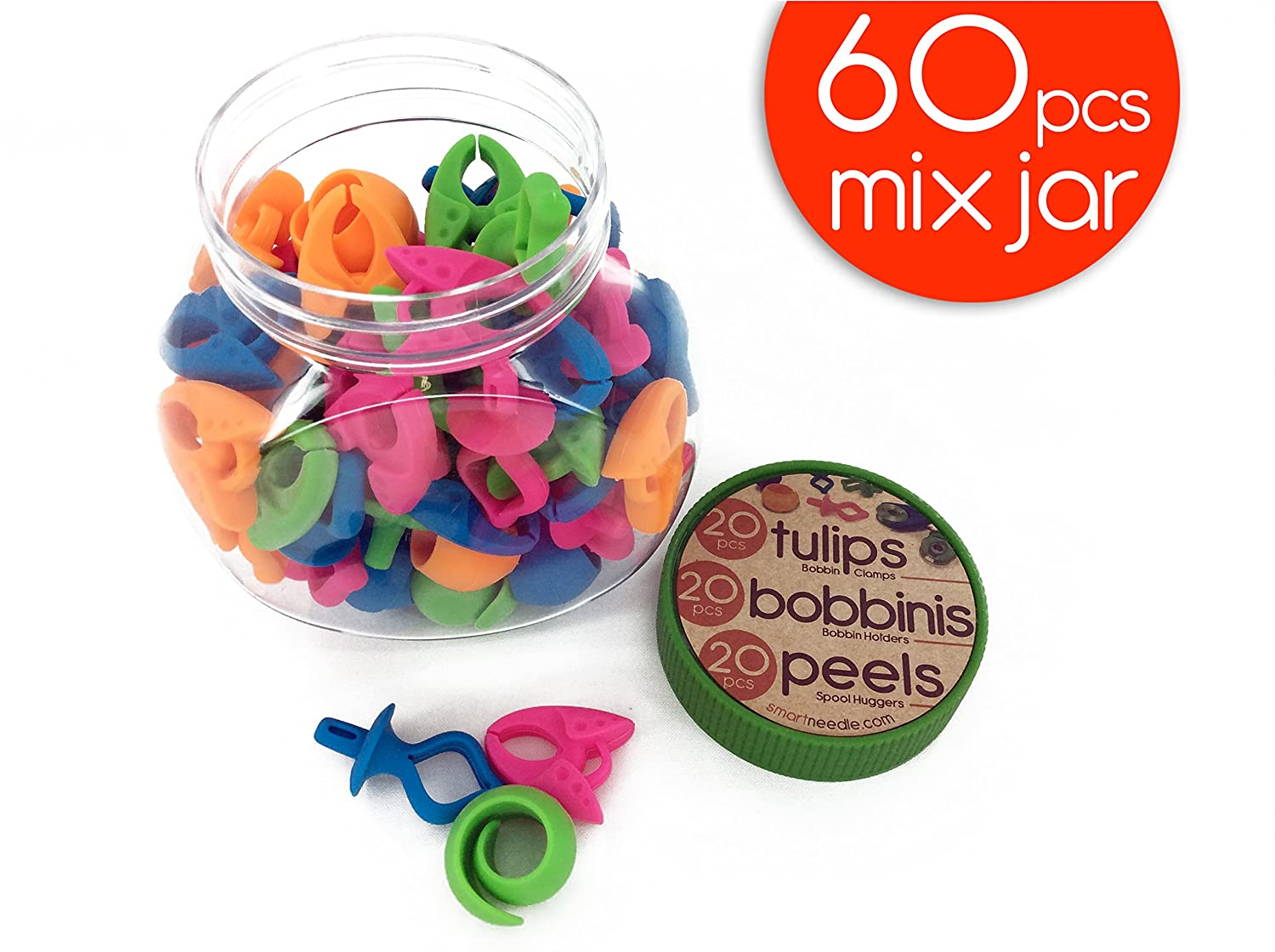 MIX NOTIONS JAR (60 Pieces) - 20 Bobbinis (bobbin holders), 20 Peels (Spool Huggers), 20 Tulips (Bobbin Clamps) Smartneedle.inc