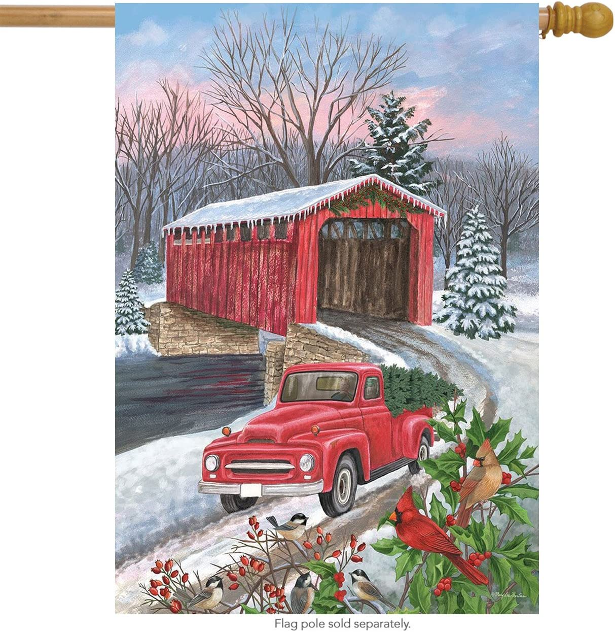 "Winter Covered Bridge Seasonal House Flag Pickup Truck Cardinals 28"" x 40"""
