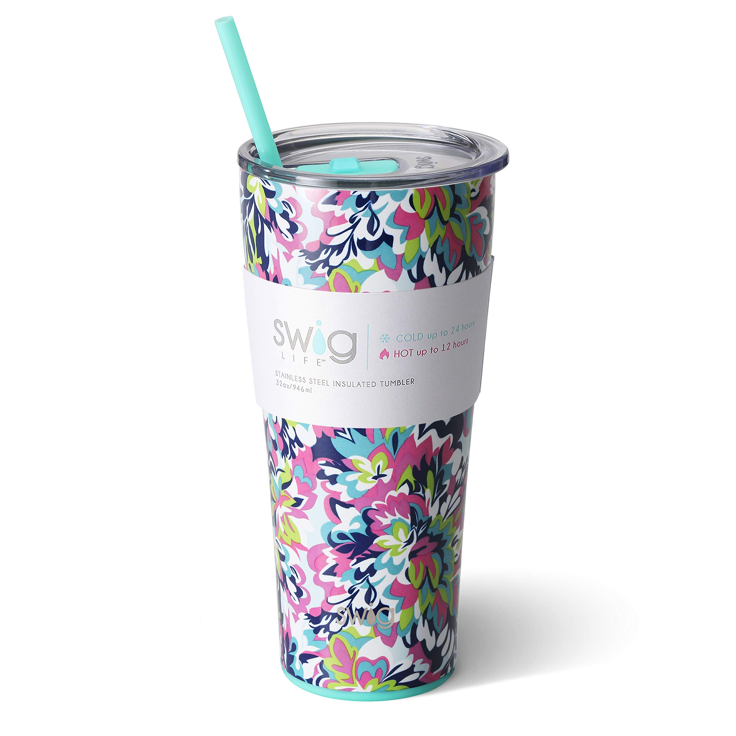 Swig Life Stainless Steel Signature 32oz Tumbler with Spill Resistant Slider Lid and Reusable Straw in Frilly Lilly