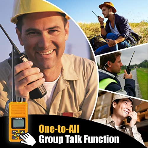 Long Range Rechargeable Two-Way Radio with Earpiece Mic, Sanzuco Handheld Walkie Talkie with Group Talk Function, Frequency Reprogrammable, 3000mAh Li-Battery, Dock Charger Included Orange, 6 Pack