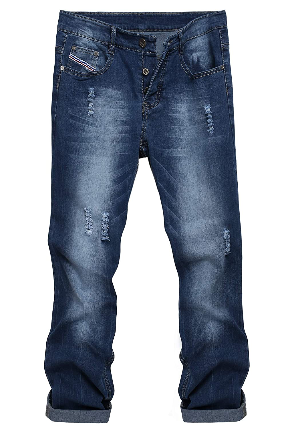 Coofandy Men's Casual Denim Jeans Frayed Slim Ripped Pants