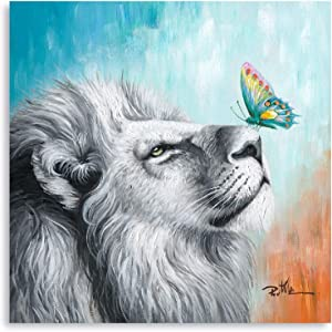 Canvas Wall Art White Lion and Colorful Butterfly Artistic Painting Animal Abstract Pictures Print Giclee Wall Decor for Bedroom Living Room Office Home Decoration 12