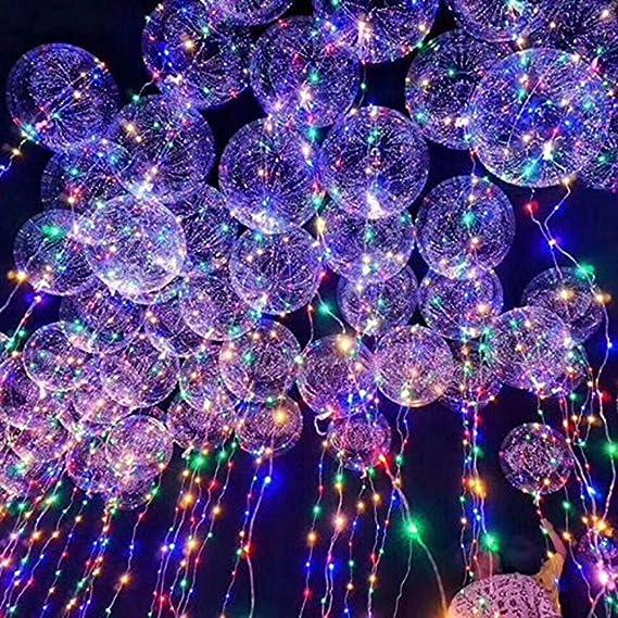 Globos trasparentes con luces y tiras LED.