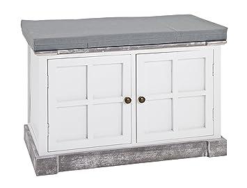 Haku Möbel Sitzkommode, Holz, Weiß/grau Gekälkt, 35 X 70 X