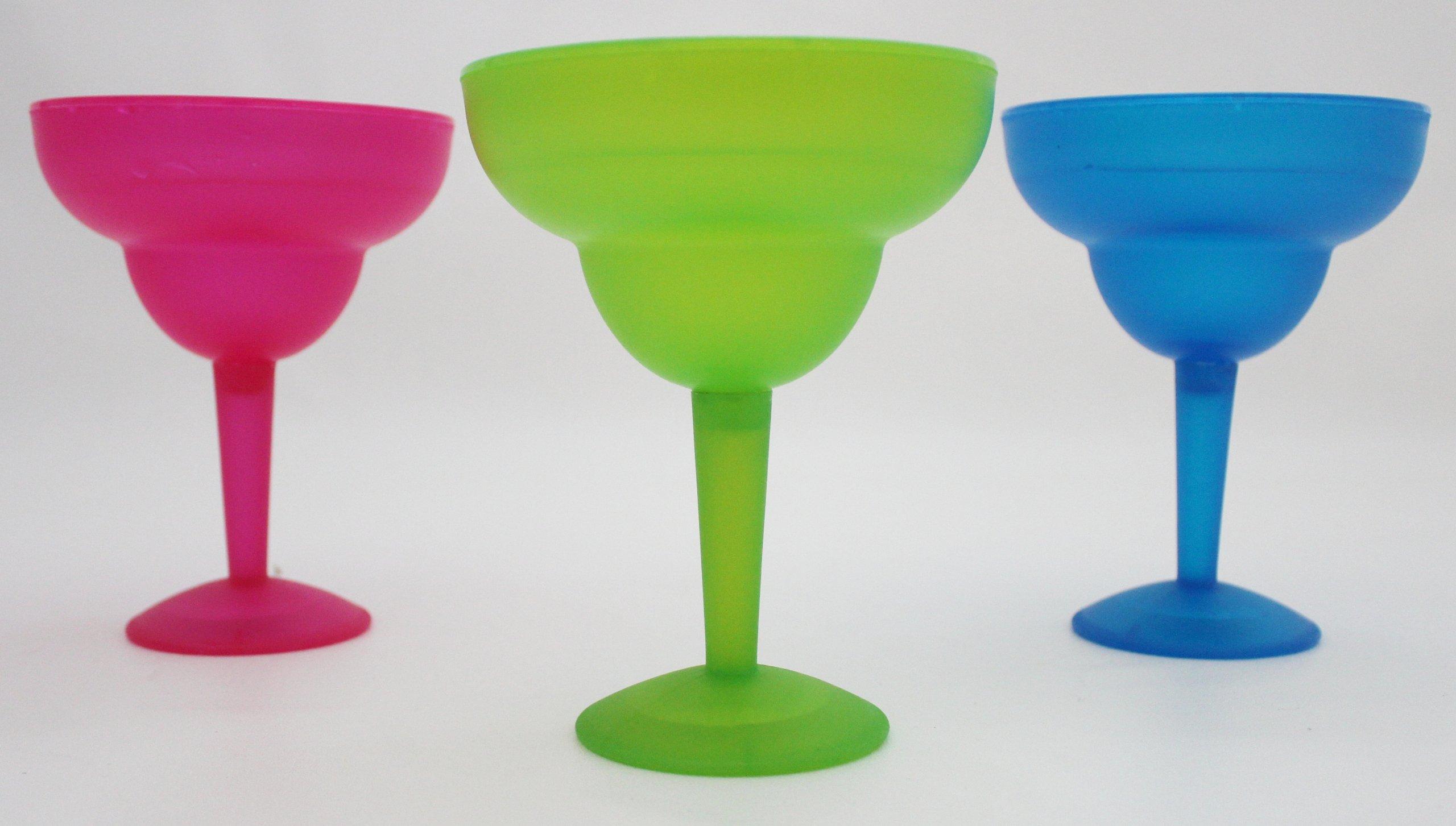 Bright Vibrant Margarita Frozen (Freezer) Glasses Set of 3 (Blue, Pink & Green)