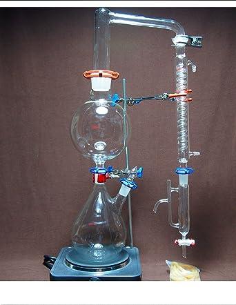 Yantra Equipo de laboratorio de destilación de vapor de aceite esencial con condensador Graham de la