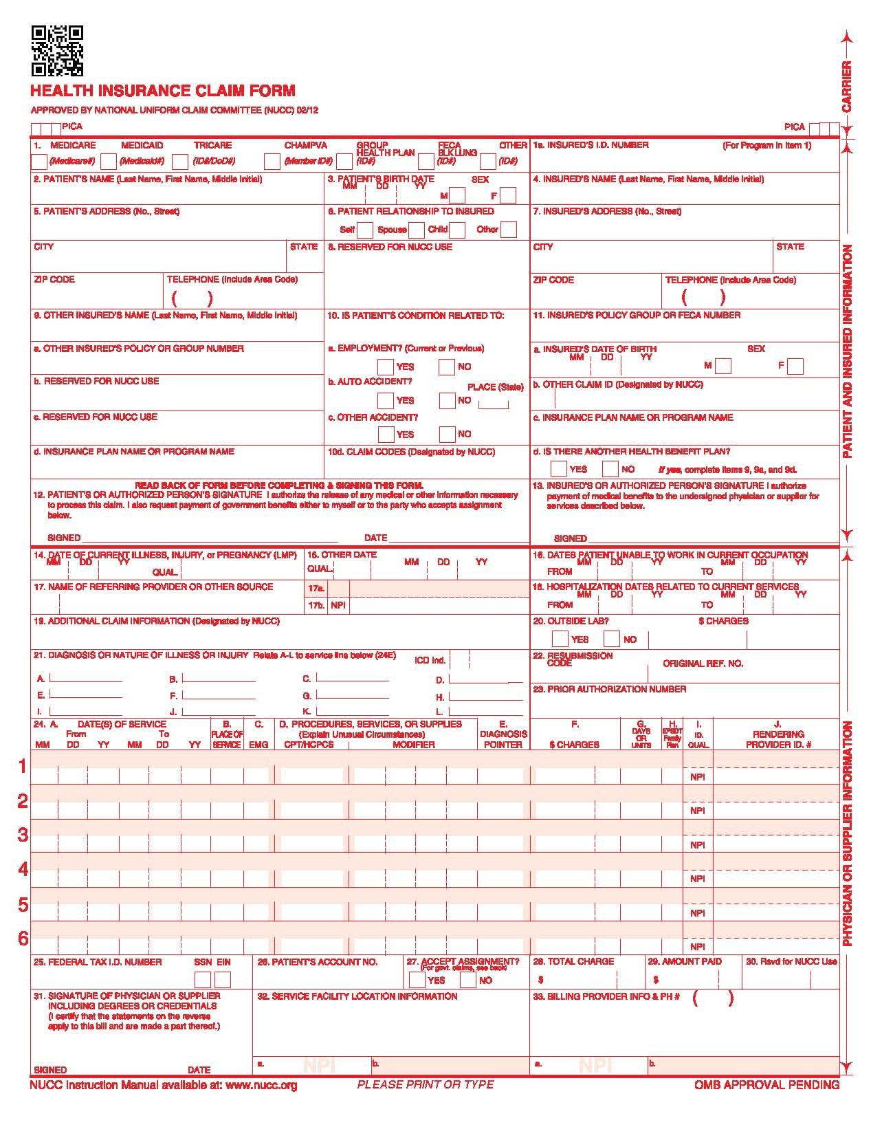 Best rated in medical insurance forms helpful customer reviews new cms 1500 0212 claim form 25 forms product image falaconquin
