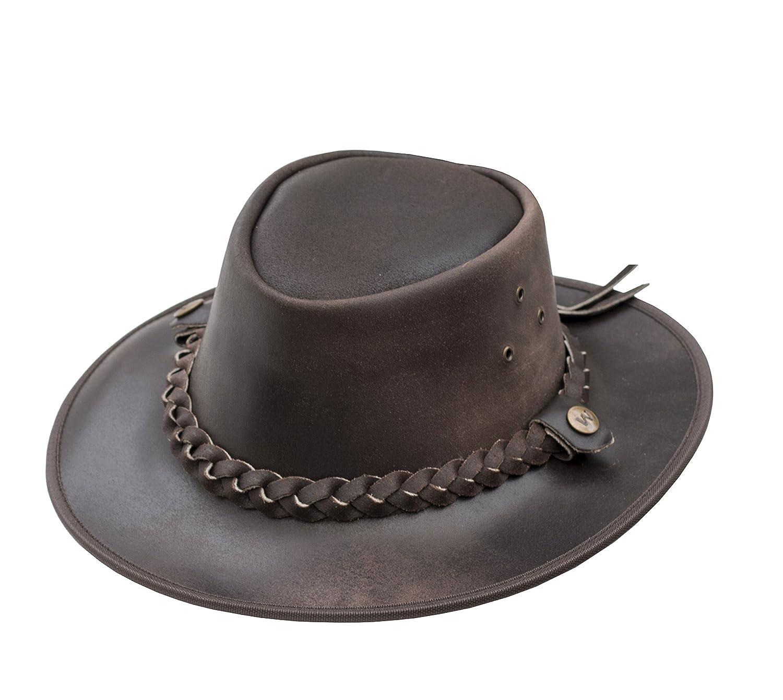 style chapeau de brousse Wombat Leather Chapeau Bush Hat en cuir marron
