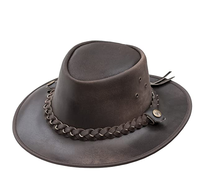 8e5fdb6547f28 Wombat Outback Brown Cow Hide Leather Bush Hat Chin Strap