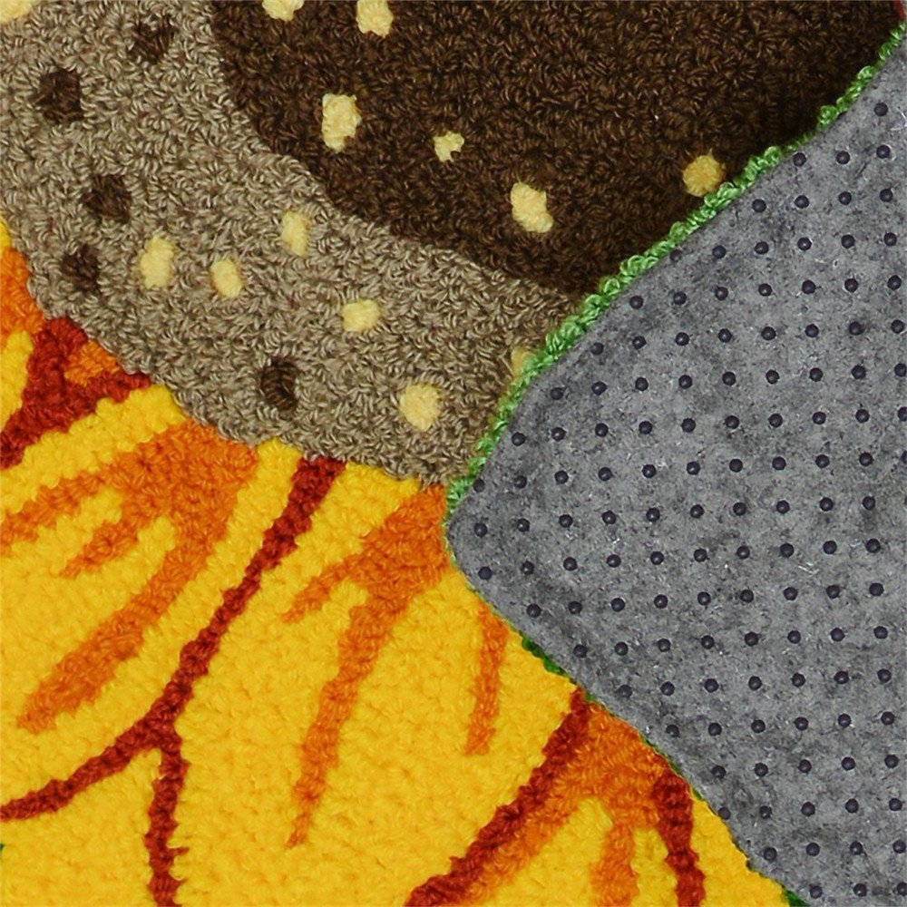 Abreeze Sunflower Rug Hand-embroidered Floor Mats Anti-Slip Floor Rug Bathroom Mat 30x25