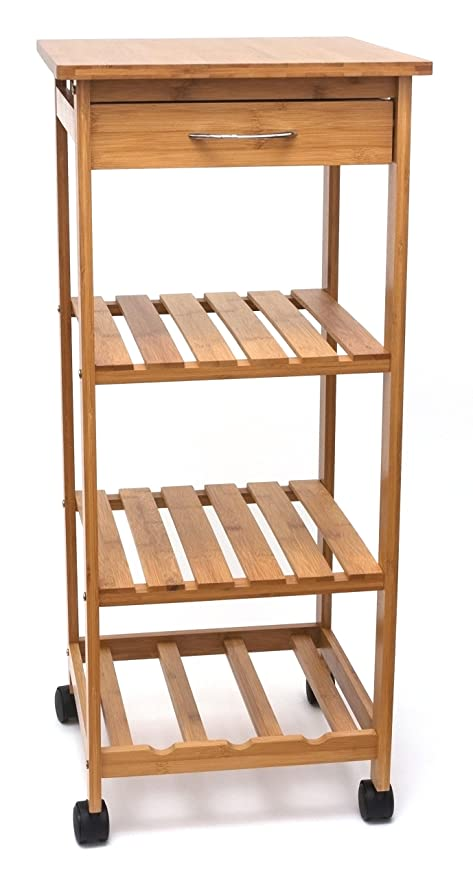 Lipper International 8914 Bamboo Wood Space Saving Cart With 1 Drawer,  14.5u0026quot; X