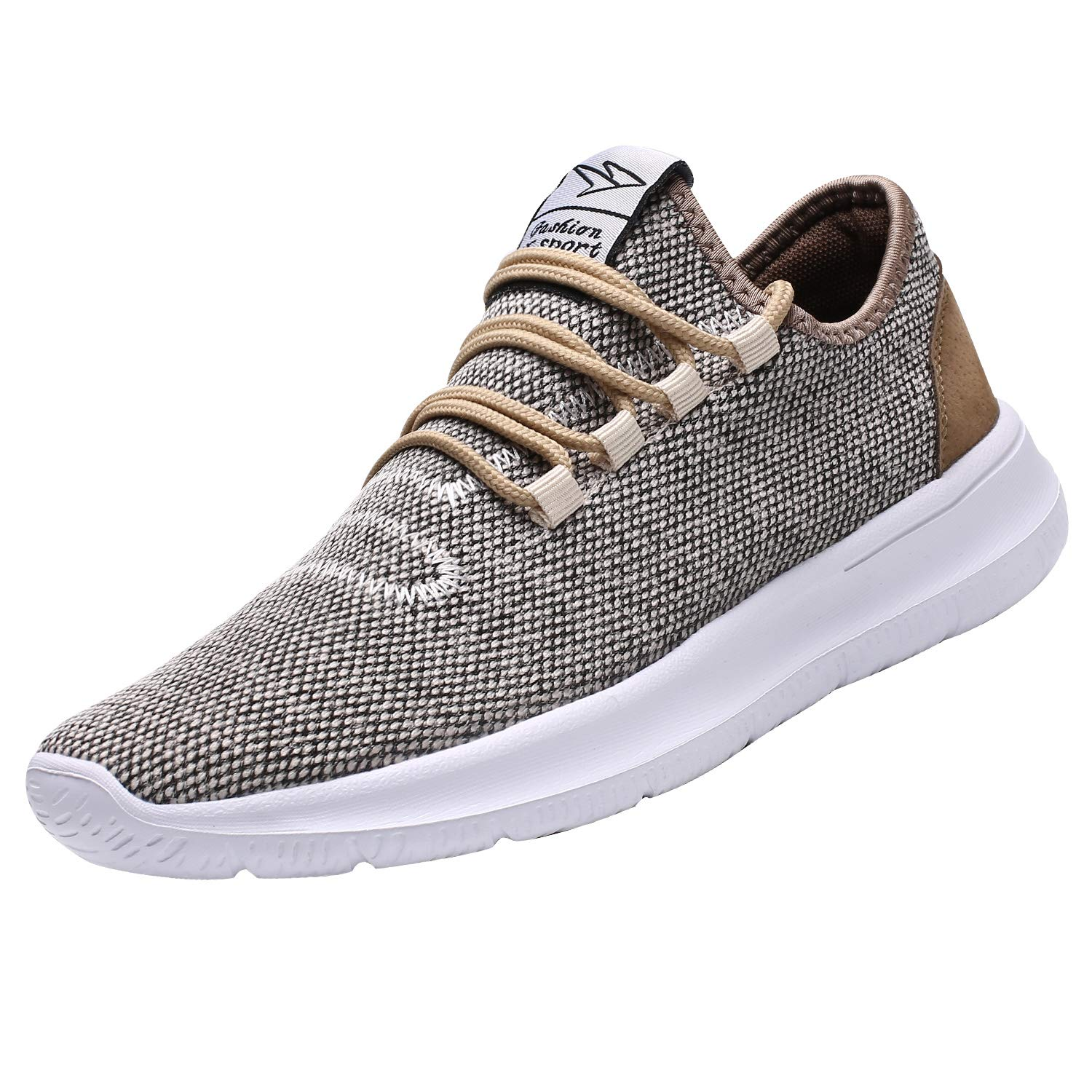 KEEZMZ Men's Running Shoes Fashion Breathable Sneakers Mesh Soft Sole Casual Athletic Lightweight (8, Beige) by KEEZMZ