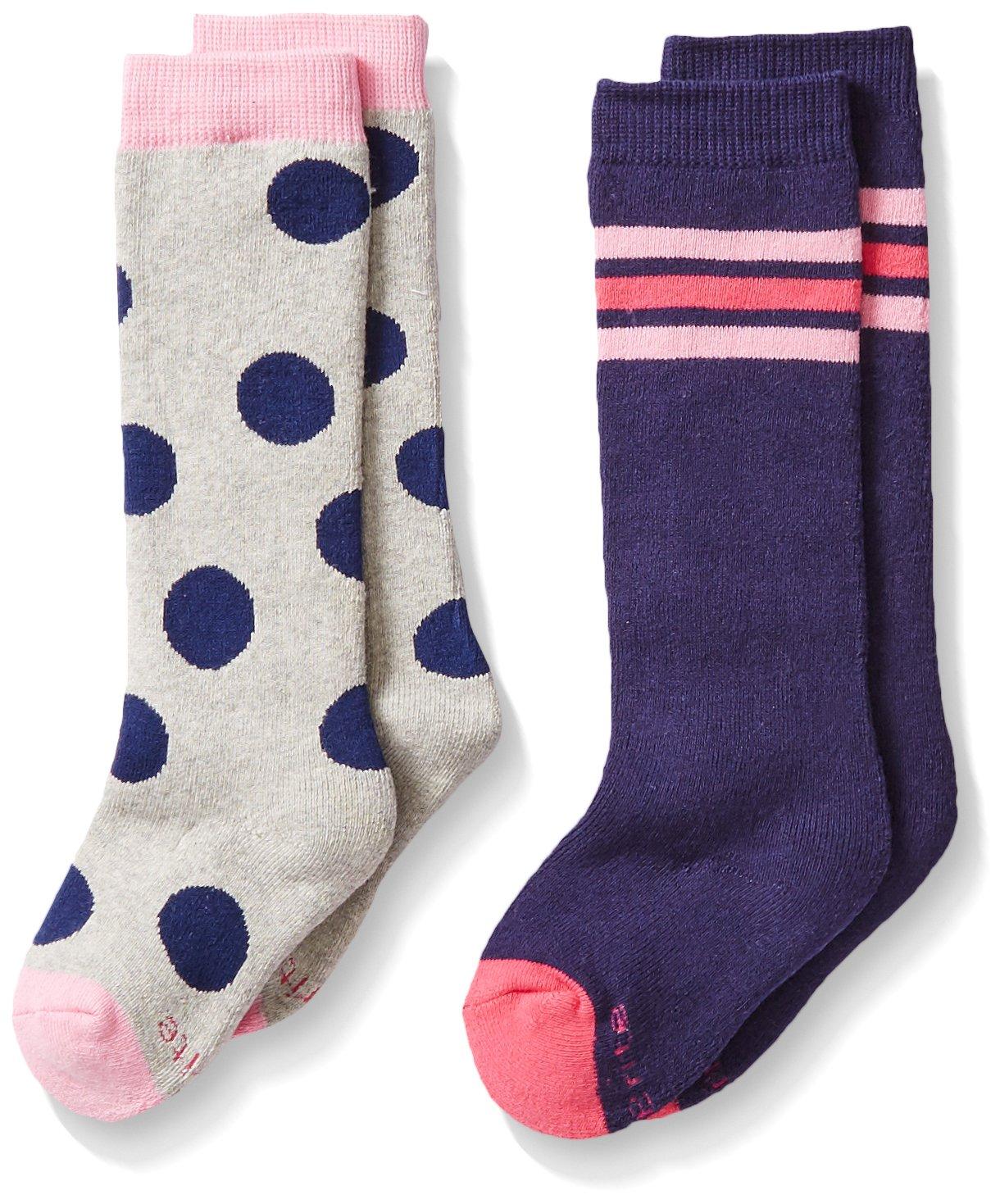 Stride Rite Little Girls 2 Pack Dot Knee High Boot Sock, Grey, 5-6.5