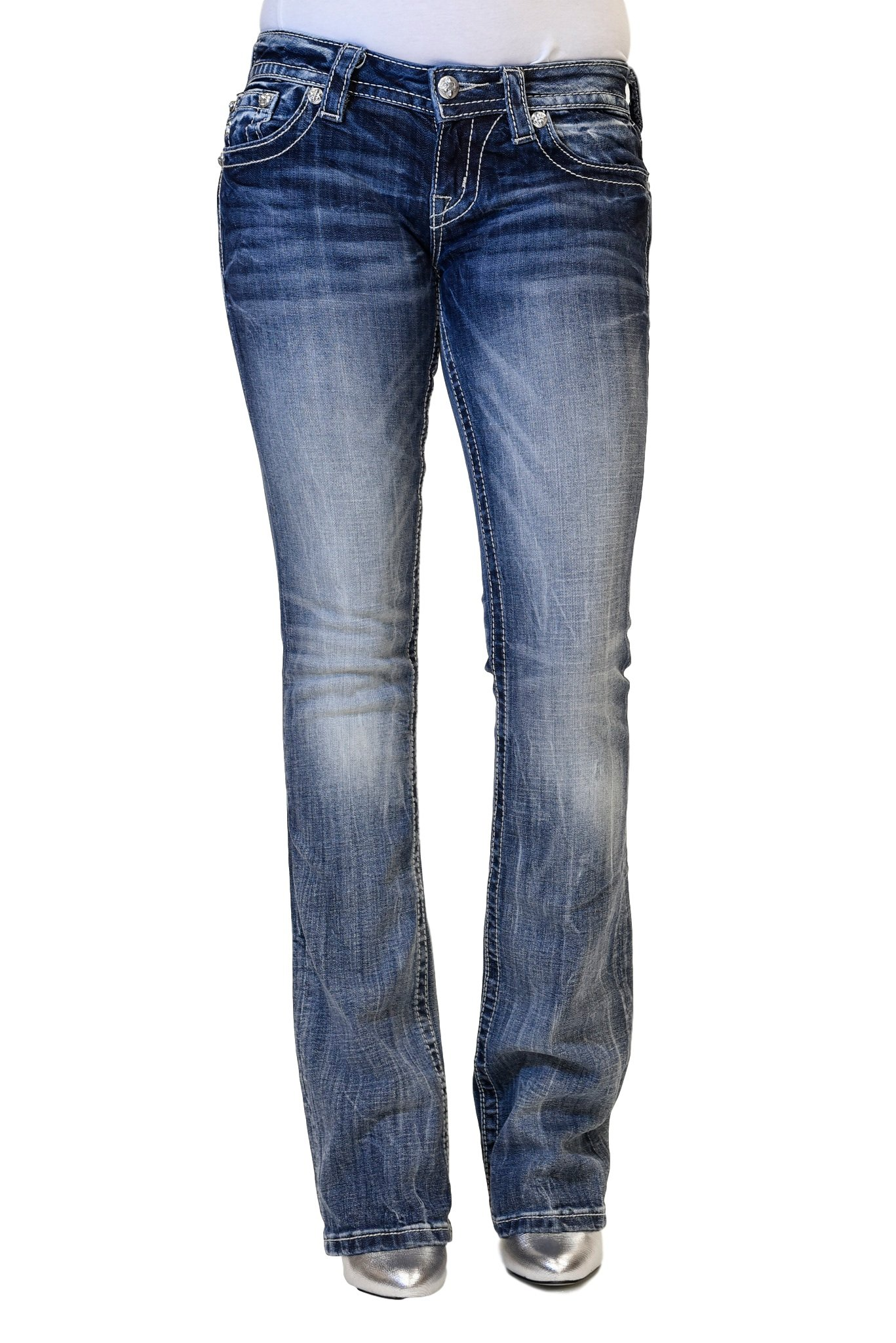 Miss Me Jeans Women's Medium Wash Totem Pol Angel Wings Cross Slim Boot Cut (26)
