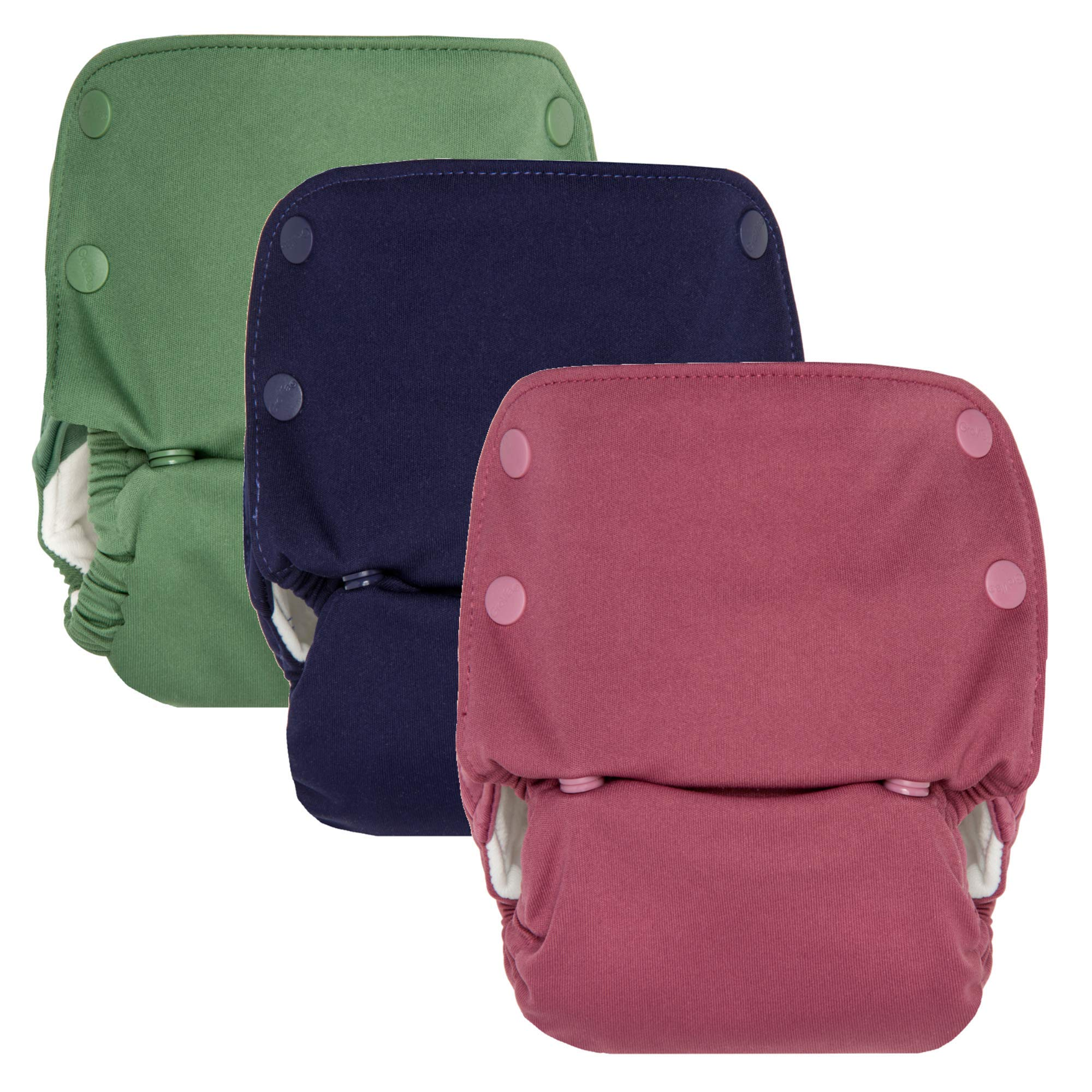 GroVia Reusable All in One Snap Baby Cloth Diaper (AIO) - 3 Pack Color Mix 2
