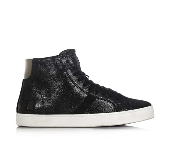 D.A.T.E. - Black lace-up sneaker made of nubuck, lateral zipper, logo on  the tongue and on one side, Child, girl, woman: Amazon.co.uk: Shoes & Bags