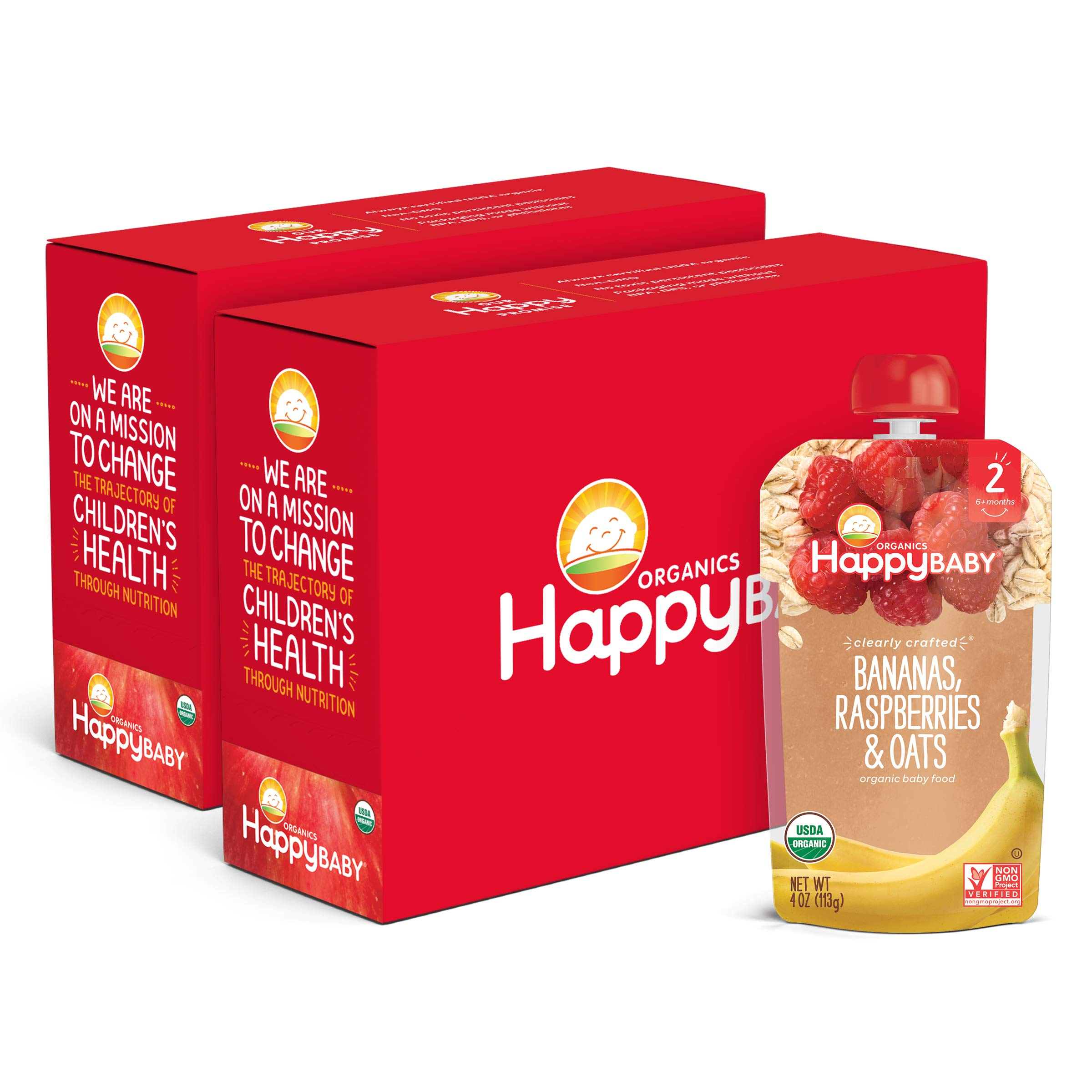 Happy Baby Organics Clearly Crafted Stage 2 Baby Food, Bananas, Raspberries & Oats, 4 Ounce Pouch (Pack of 16) packaging may vary