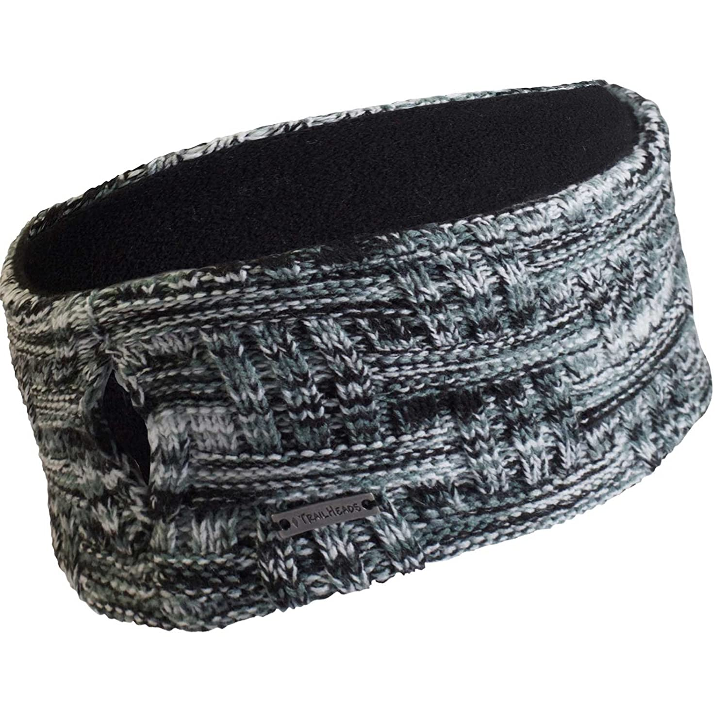 TrailHeads Women's Space Dye Knit Ponytail Headband - black & white