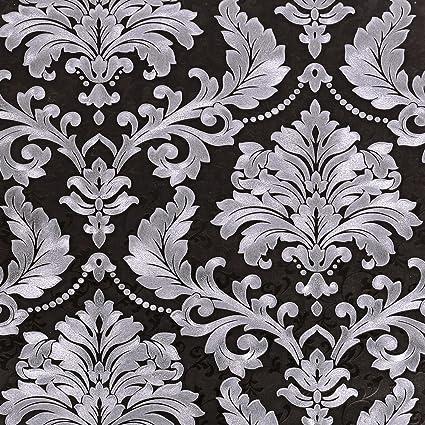 Sicohome Black Damask Wallpaper 11 Yards