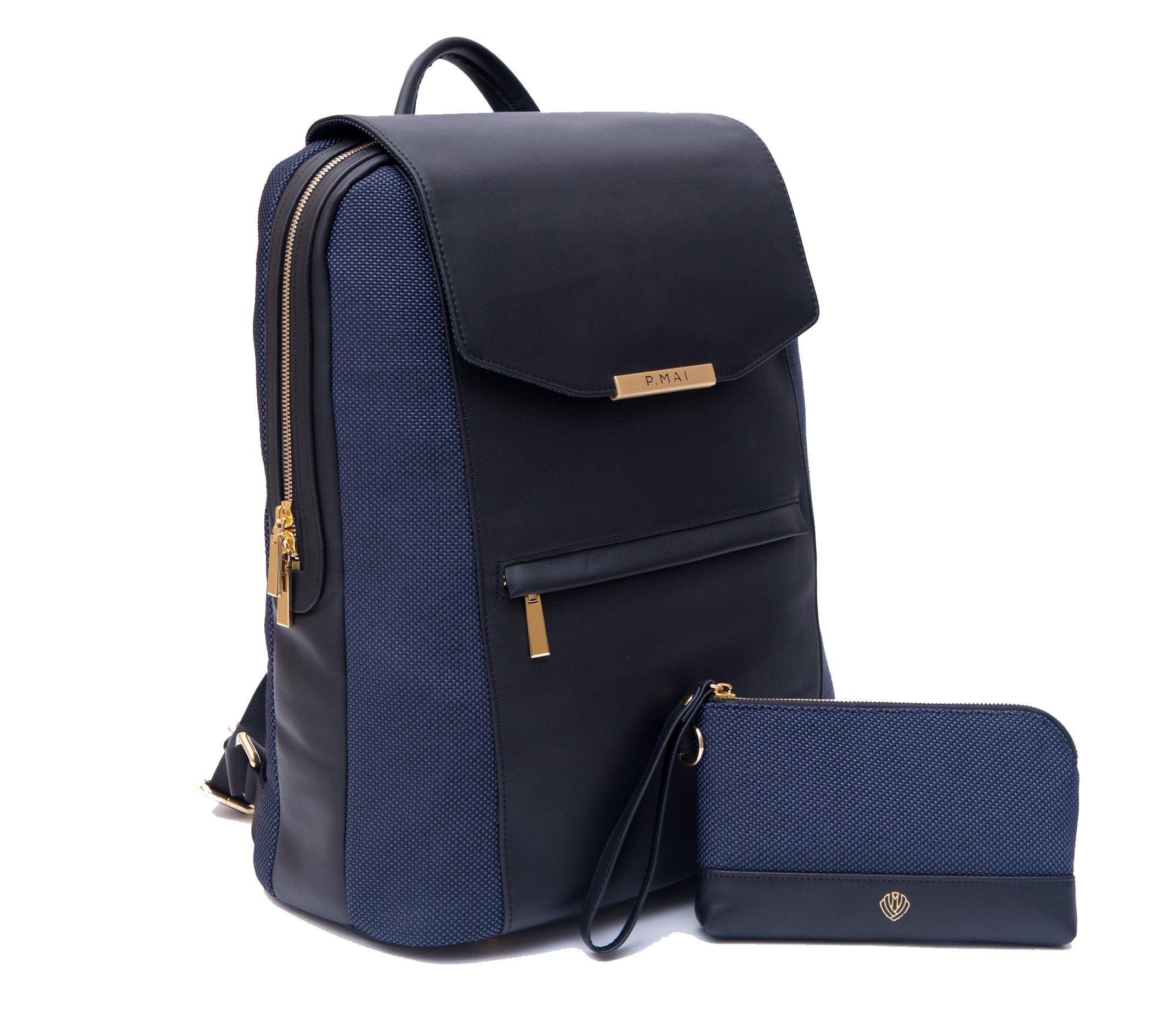 P.MAI Premium Valletta Leather Laptop Backpack for Women with Wristlet I 15-Inch Executive Laptop and Notebook Computer Backpack I Ideal for Business, Travel, Work I Incl. Commuter Purse – Navy Blue by P.MAI