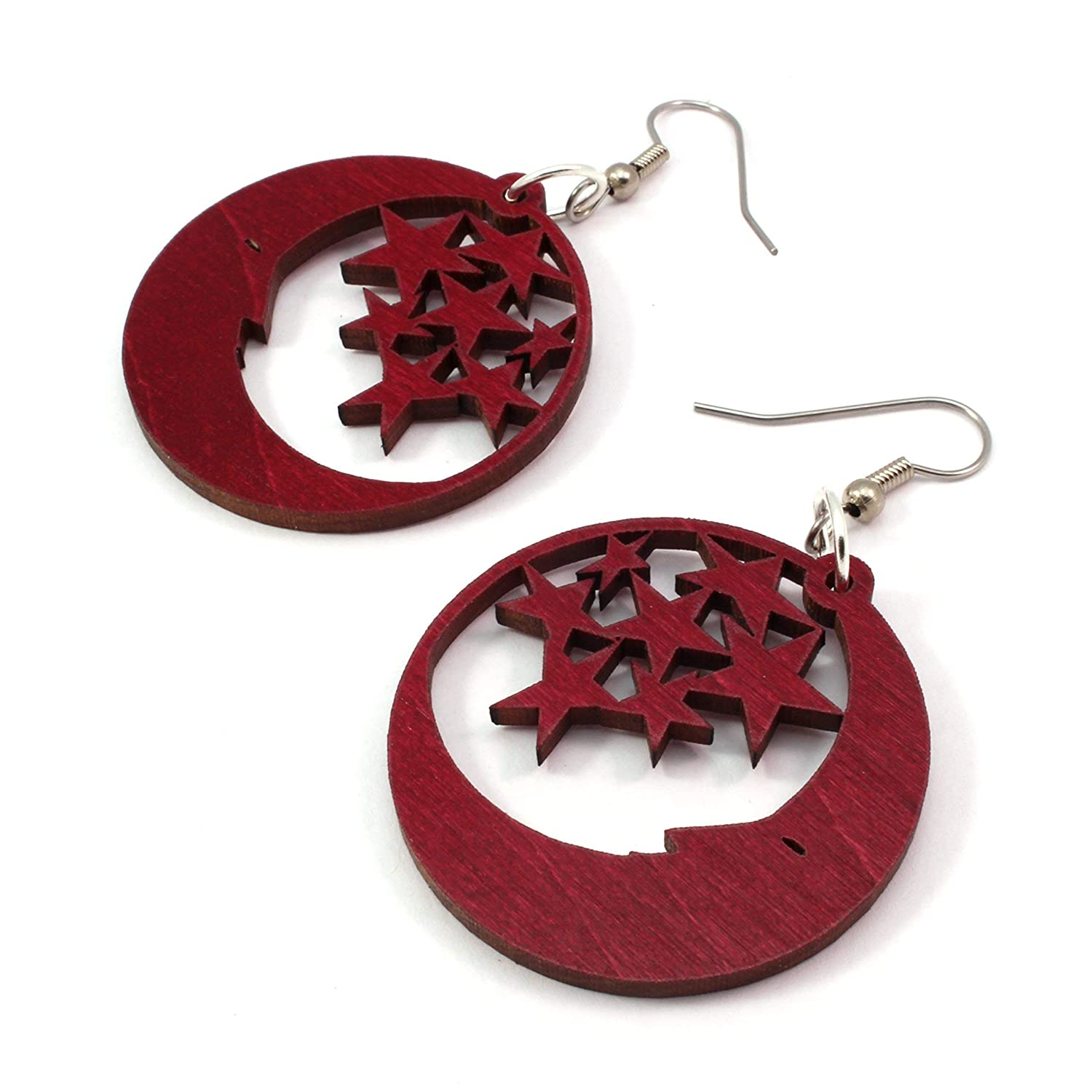 - Hook Dangle Drop Earrings Moon and Stars Earrings made of Sustainable Red-Stained Maple Wood Small 1.5