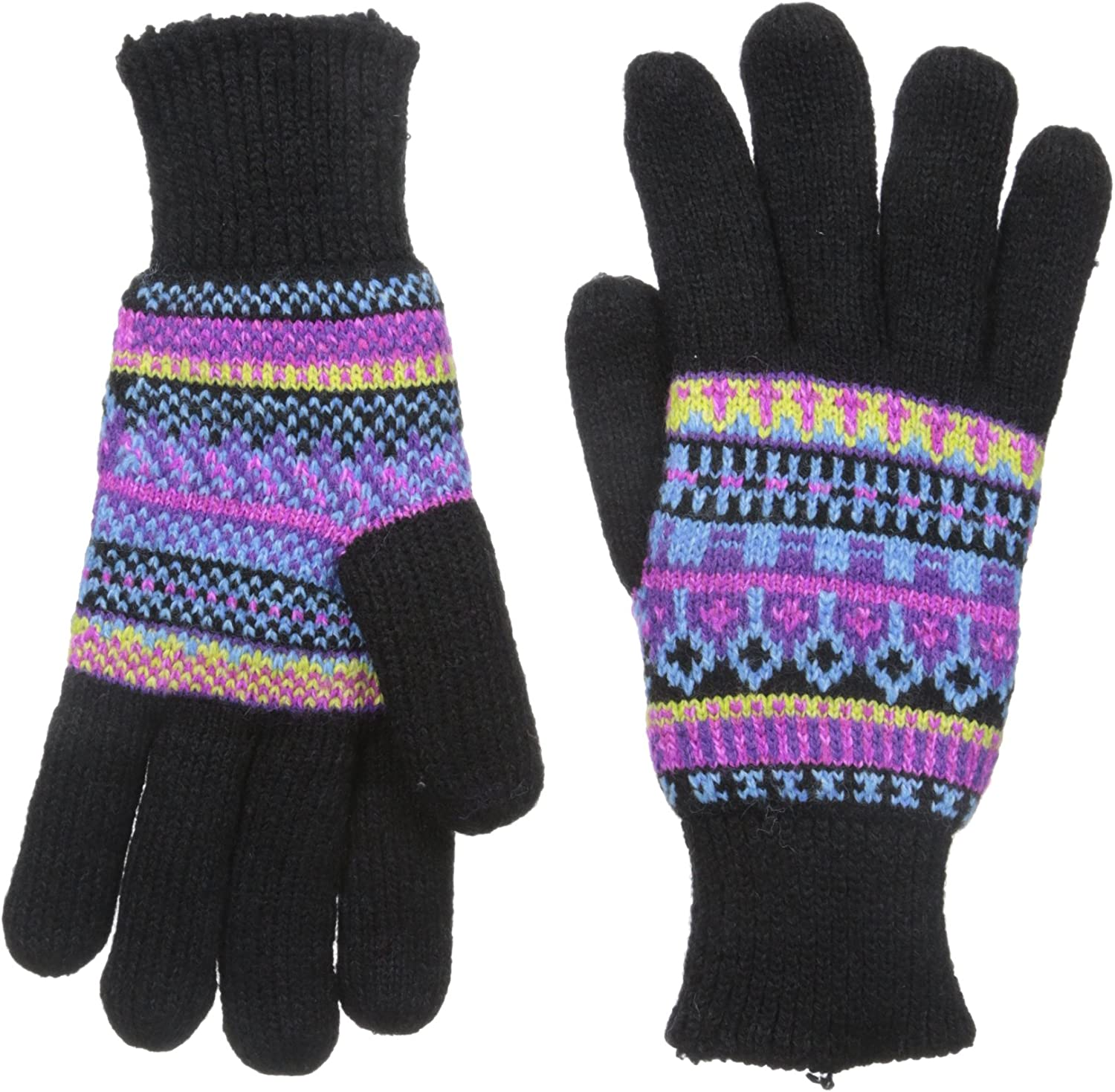 Ladies Mens Black Fairisle Touch Screen Smart Knitted Gloves Winter Warm Adults