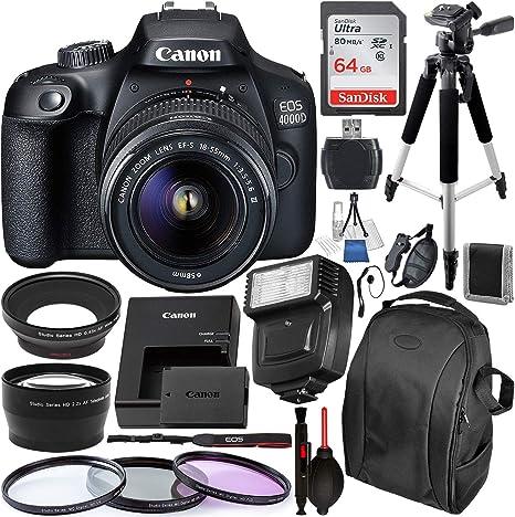 Amazon.com: Cámara réflex Canon EOS 4000D/Rebel T100 con ...