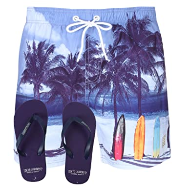 67df128d8e Tokyo Laundry Mens Photographic Beach Swim Shorts and Free Flip Flops:  Amazon.co.uk: Clothing