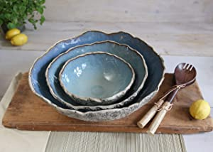 Large Blue Serving Bowls Set | Handmade Salad Bowls 3 Pieces | Rustic Ceramic Bowls | Pottery Dinnerware