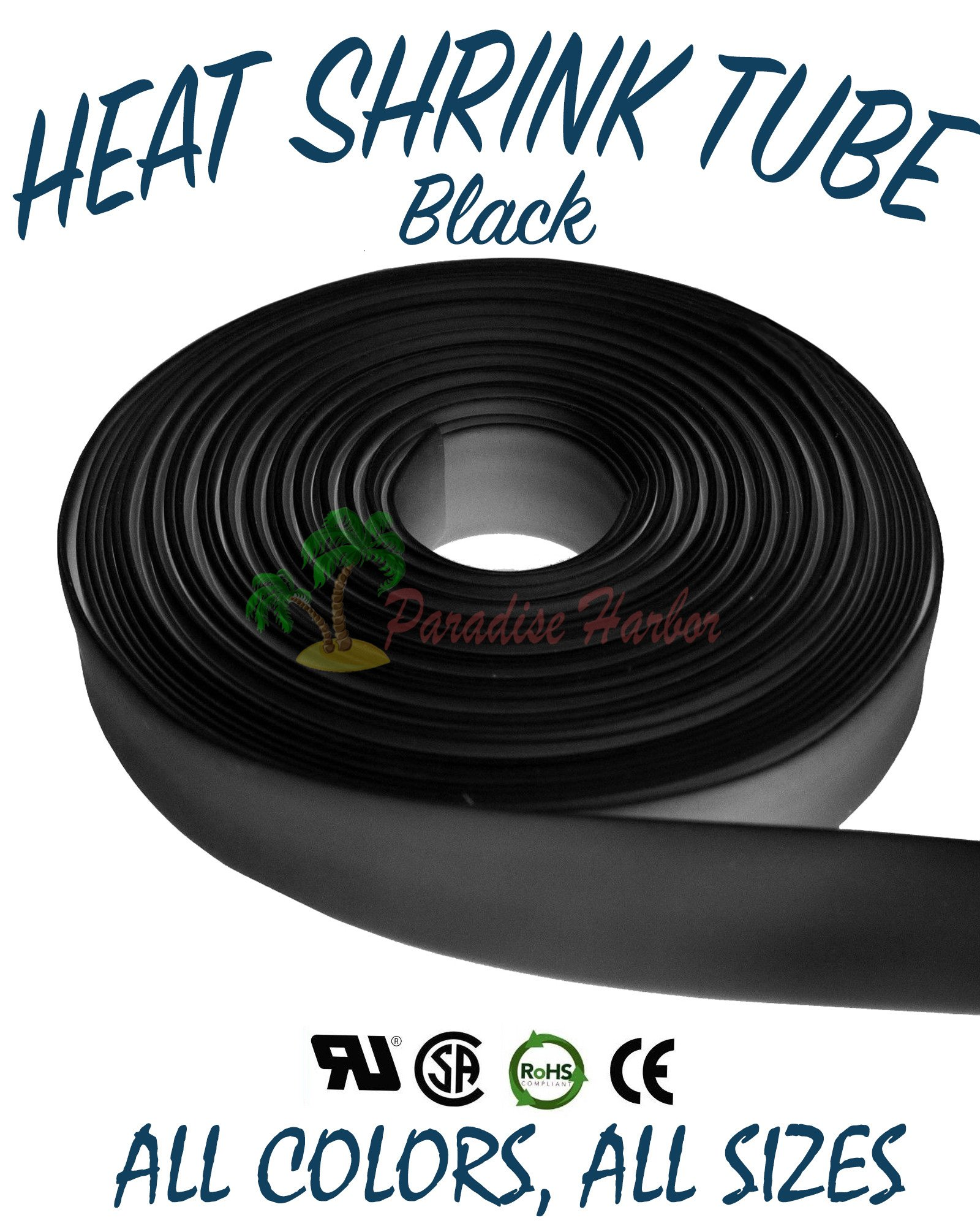 Paradise Harbor 100 Ft Black 3/4'' 19mm Heat Shrink Tubing Polyolefin Heat Shrink Tube 2:1 Heat Shrink Tubing Tube Cable