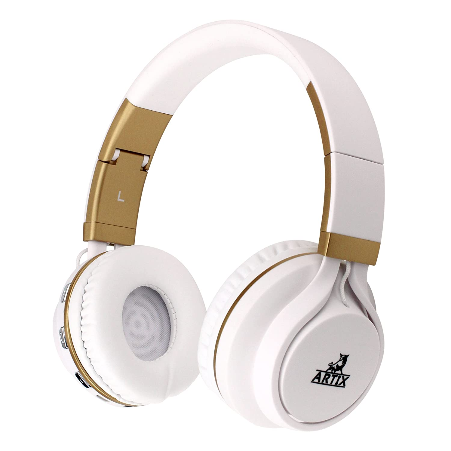 ARTIX BT5 Bluetooth Headphones On-Ear Wireless Earphones, Lightweight, Foldable, Adjustable Headset w/Built in Microphone, 3.5mm Cable for Wired Use/Work, Travel, Sport, Kids Teen Adult White/Gold