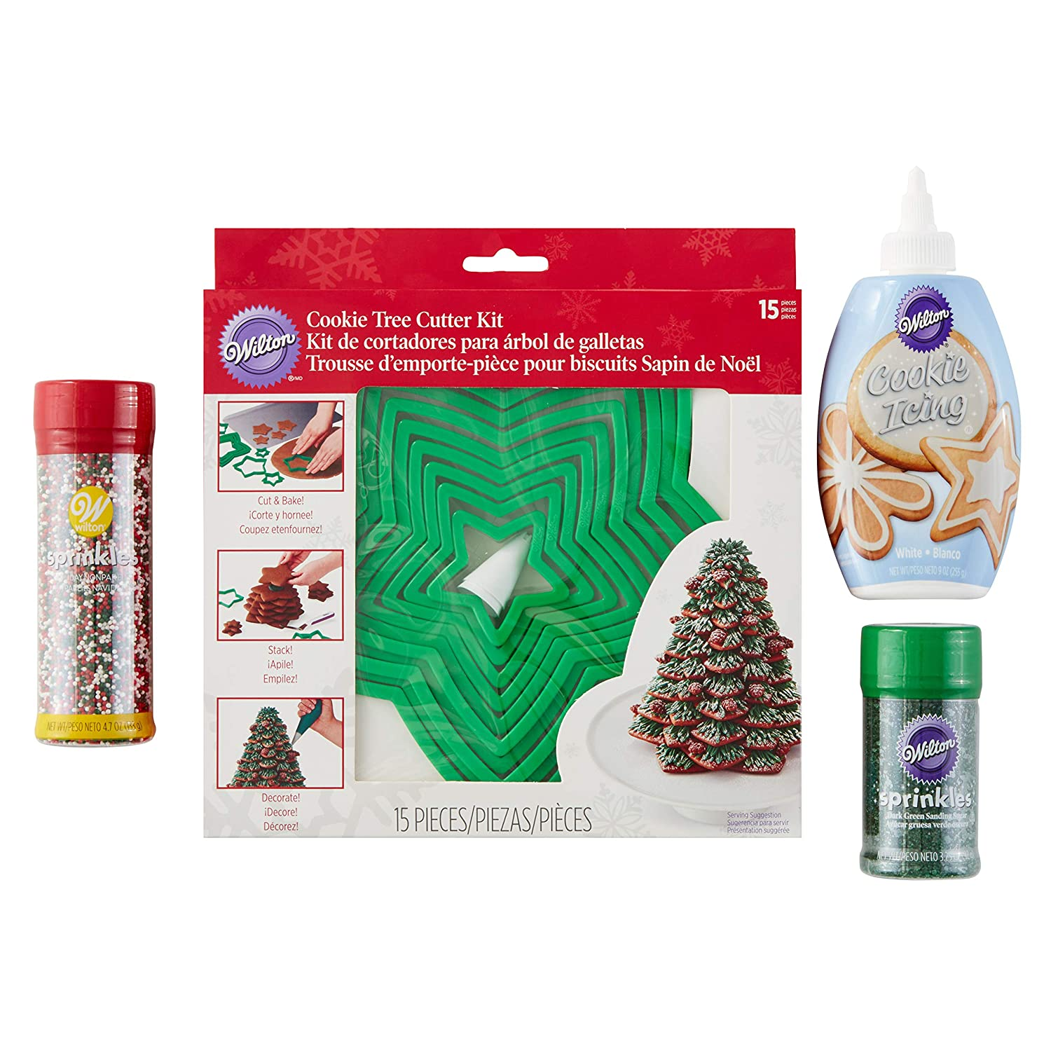 Amazon.com: Wilton Holiday Tree Cookie Cutter and Decorating Set, 18-Piece: Kitchen & Dining