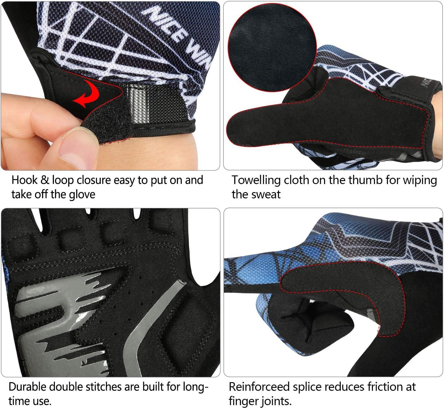 Hommes Femmes Rembourr/é Antid/érapage Respirant Gants /à /Écran Tactile Plein-Doigt LOHOTEK Gants-Cyclisme pour Bicyclette-Moto VTT Gant-V/élo Route-de-Montagne