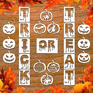 23Pcs Halloween Plastic Painting Stencil, Reusable Porch Logo Stencils Pumpkin Expression Template DIY Card, Craft Art Painting Spray Window Glass Wood Airbrush and Wall Art